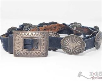 """285: Old Pawn Heavy Stamp Sterling Silver Concho Belt, approx 38"""" Sterling Silver 