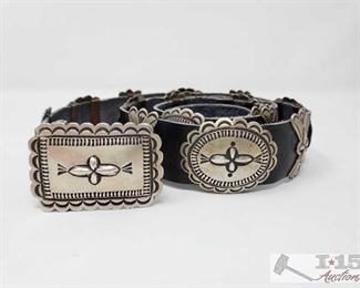"""286:  Navajo Cast Sterling Silver Concho Belt Signed By Artist 42"""" 17 Conchos & Buckle, 291.8g Weighs approx 291.8g, measures approx 42"""""""