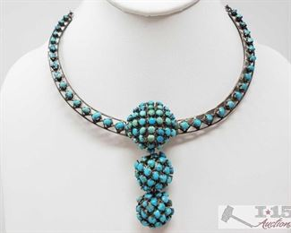 """307:  Sterling Silver Necklace with Turquoise, 39.8g Sterling Silver Necklace with Turquoise weighs approx 39.8g measures approx 16"""" Metal Type: Sterling Silver Gemstones: Turquoise"""