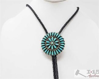 """309:  Sterling Silver with Turquoise Bolo Tie, 28.4g Sterling Silver with Turquoise Bolo Tie weighs approx 28.4 measures 318"""" Metal Type: Sterling Silver Gemstones: Turquoise"""