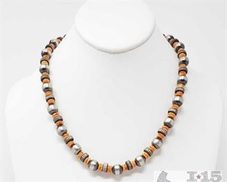 """313:  Navajo Sterling Silver Pearl, Sterling & Spiny Oyster Shell Beaded Necklace Navajo Sterling Silver Pearl, Sterling & Spiny Oyster Shell Beaded Necklace  weighs approx 41.5g measures approx 9"""""""