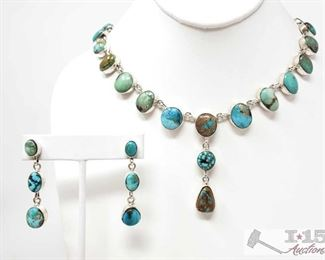 315:  Paul Livingston Navajo Turquoise Mountain & Sterling Silver Necklace Set Signed 1 weighs approx 66.9g measures approx 24.
