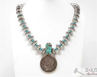 """317:  Vintage Mercury Dime Beads Morgan Dollar Large Necklace, 213.8g Sterling Silver 