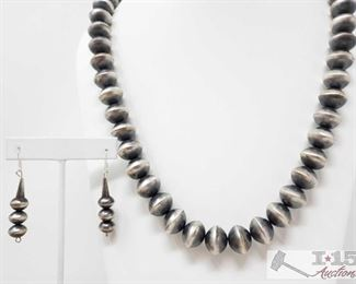 """318:  Striking Navajo Handmade Sterling Silver Chunky Beaded Necklace measures approx 27"""" Strickling Chunky  Sterling Silver Necklace with Earrings weighs approx 138g measures approx 27"""" Metal Type: Sterling Silver Low Estimate: 550.00 High Estimate: 1000.00"""