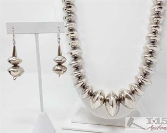 "319:  Striking Navajo Handmade Sterling Silver Chunky Beaded Necklace measures approx. 32"" Striking Navajo Handmade Sterling Silver Chunky Beaded Necklace  weighs 179.5g measures approx 32"" Metal Type: Sterling Silver Low Estimate: 700.00 High Estimate: 1200.00"