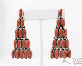 324:  Navajo Sterling Silver & Coral Dangle Earrings, 20g These great Navajo Natural Coral & Sterling Silver. They are 2 1/2 inches long and 1 inch wide, weighs approx 20g