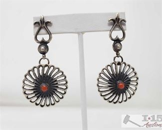 320:  Signed by Artist Navajo Sterling Silver & Coral Dangle Earrings Navajo Sterling Silver & Coral Dangle Earrings One of a Kind  Weighs approx 16.3g Low Estimate: 175.00 High Estimate: 250.00