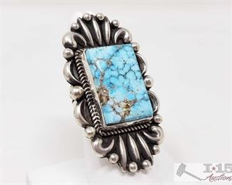 """337:  Vintage Water web Kingman Turquoise Bump Out Ring, 22.5g Sterling Silver 