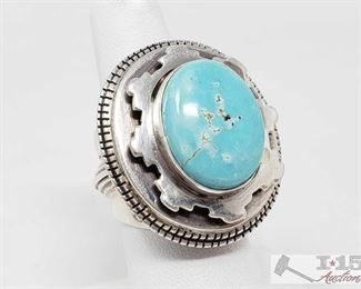 """340:  Vintage Royston Turquoise Stack Oval Sterling Silver Ring, 27.1g Sterling Silver 