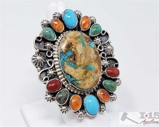 """341:  Kathleen Chavez Multi Color Cluster Sterling Silver Ring, 29.3g Sterling Silver 