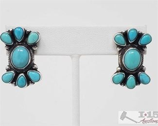 """342:  Eleanor Largo Turquoise Post Sterling Silver Earrings, 10.6g Sterling Silver 