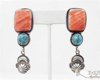 """344:  Vintage Spiny Oyster & Turquoise Post Sterling Silver Earrings, 22.5g Sterling Silver 
