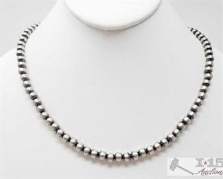 """348:  Striking Sterling Silver Navajo 8mm Beads Length 18"""" Wear alone stacked with other Navajo beads or with your favorite pendent!! Sterling Silver Necklace weighs approx 20g measures approx 18"""""""