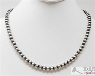 """349:  Striking Sterling Silver Navajo 6mm Beads Length 20"""" Wear alone stacked with other Navajo beads or with your favorite pendent!! Sterling Silver Navajo 6mm Beads Length 20  weighs approx 21.7g"""