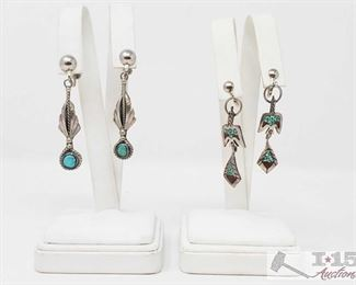 356:  2 Pairs of Earrings Weighs approx 13.4g