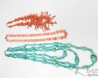 """357:  3 necklaces 3 necklaces measures approx from 10"""" to 15"""" weighs approx 299.5g"""