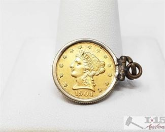 402:  1904 Gold US Liberty Head 2.5 Dollar 1904 Gold US Liberty Head 2.5 Dollar weighs approx 5g