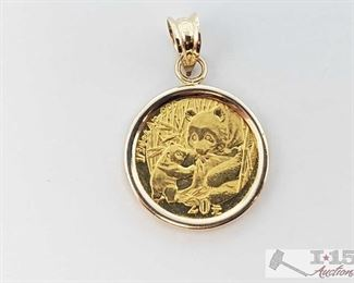 """405:  14k 2005 Panda Coin Pendant, 2g This is a beautiful collectors grade 14k 2005 20 Yuan 1/20 oz gold panda coin pendant weighs approx 2g measures approx 1"""" According to research this coin has a mintage of only 89,500 and many have been made into jewelry. GREAT FIND!! 2of2 OS19-018517.7"""
