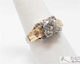 495:  14k Y/G Vintage Style Mens Ring, Contains 1.50ct Rose Cut Diamond Valued at $9,500.00 14k Y/G Vintage Style Mens Ring, Contains 1.50ct Rose Cut Diamond. Size 9 weighs approx 6g Includes appraisal certificate valued at $9,500.00
