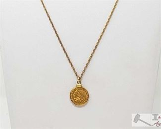 """496:  1908 Indian Head $2.50 Gold Coin on a chain 1908 Indian Head $2.50 Gold Coin on a chain weighs approx 8.8g measures approx 15"""""""