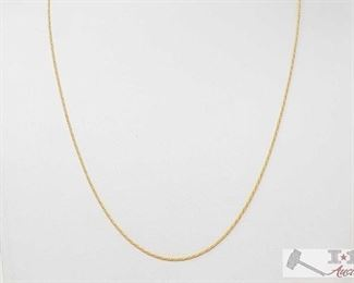 """497:  14k Gold Necklace 14k Gold Necklace weighs approx. 3.6g measures approx 9.5"""""""
