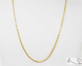 """498:  14k Gold Necklace 14k Gold Necklace weighs approx. 14.3g measures approx 9.5"""""""