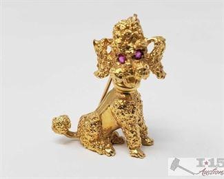 502:  14k Gold Dog Brouche 14k Gold Dog Brouche weighs approx 8.3g