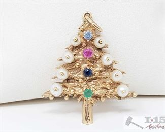 503:  14kt Gold Fresh Water Pearls and Semi Precious Stones in a Christmas Tree Pendant 14kt Gold Fresh Water Pearls and Semi Precious Stones in a Christmas Tree Pendant weighs approx 7.5g