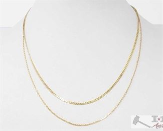 """506:  Two 14k Gold Necklaces, 6.2g 2 14k Gold Necklaces weighs approx 6.2g measures from approx 7.5"""" to 8"""""""