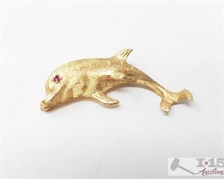 508: 14k Gold Dolphin Pendant 14k Gold Dolphin Pendant weighs approx 4.7g