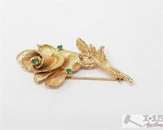 515:  14kt Gold Flower Brouche 14kt Gold Flower Brouche weighs approx 12.7g