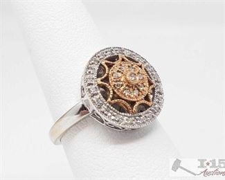 516:  14k White Gold and Rose Gold Diamond Ring, 4.3g 14k White Gold with Diamonds Ring weighs approx 4.3g approx size 6