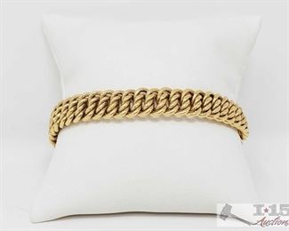 """530:  18k Gold Bracelet 19g This is an Italian 18k gold double stacked Cuban link bracelet with custom box clasp 19g measures approx 8"""" 2of4 OS19-018517.23"""