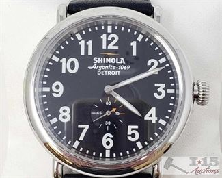 705:  Shinola Argonite-1069 Watch In Wonderful and Working Condition 47 mm Shown here is a VERY nice Shinola Argonite 1069 Detroit watch from the Runwell collection, 47mm stainless steel case with double curve sapphire crystal and screw-down crown. Detroit-built with Swiss parts, water resistant up to 160ft. Serial Number S01 001 10037 OS19-018517.61