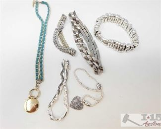 """745:  Sterling Silver and White and Yellow Plated Bracelets and Necklace, 212g Sterling Silver and White and Yellow Plated Bracelets and Necklace weighs approx 212g measures approx from 3.5"""" to 7"""""""