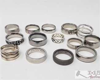 746: 19 Rings Some Tungsten and Sterling Silver This lot features 19 different rings, mostly sterling silver and a couple of Tungsten carbide steel rings. This lot has a little bit of everything you want in sterling silver rings! OS19-018517.54 2 of 2