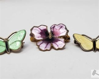 752:  Sterling Silver Butterfly and Flower Broaches Sterling Silver Butterfly and Flower Broaches 9.7g