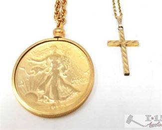 """754: Coin Pendant Necklace and Cross Pendant Necklace 1 Coin Pendant Necklace and 1 Cross Pendant Necklace measures approx from 10.5"""" to 11"""""""
