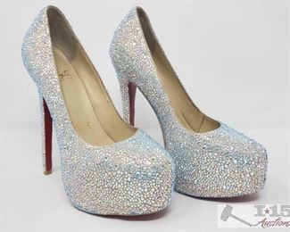 """900:  Not Authenticated Pair of Christian Louboutin Rhinestone Heels These are gently-used (non-authenticated) Christian Louboutin White Daffodile Swarovski strass 6"""" pumps, size 37 (6 1/2) Made in Italy."""