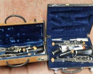 6622: 1 Pedler clarinet and 1 Selmer clarinet This lot features a Pedler and a Selmer clarinet, each in lovingly used condition in complete set with reeds, cloths, cleaners and parts in blue velvet lined cases.