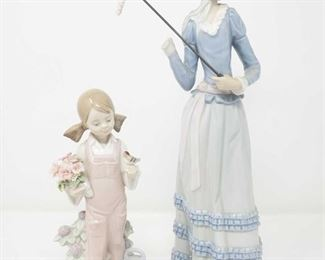 """8500: Two Llardro Figurines, """"Little Lady with Umbrella"""" and """"Spring Girl with Flowers and Bird"""" Two 1980's retired figurines """"Aranjuez Little Lady with Parasol"""" #4497 Issued 1974-1996. Right hand and open parasol are broken off. Made by Lladro handmade in Spain """"Spring Girl with Flowers and Bird"""" #5217 a glossy porcelain figurine girl with a pink bib holding a bouquet of flowers in one hand and a little bird in the other. by Vincente Martinez handmade in Spain"""