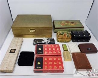 8550: Various Jewelry Boxes, Pins, Chop Sticks, And More!! Shown here, several boxes containing several miscellaneous pieces of costume jewelry, pins, silver achievement bars, key box, jewelry boxes, check case covers, and much more!