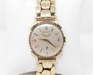 817:  12k GF Benrus Swiss Wrist Watch 12k GF(goldfilled) Benrus Swiss Wrist Watch. Measures approx 30mm. Does tick.