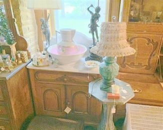 Several marble top commodes/wash stands