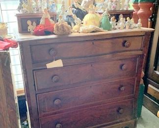 Nice vintage walnut chest loaded with pin cushion dolls