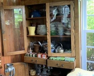 Farm Cupboard with pottery