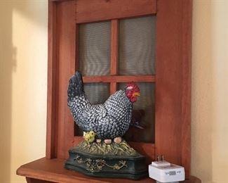 Wall shelf & cast iron chicken door stop