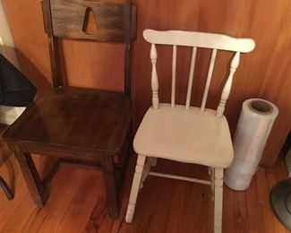 2 little antique side chairs