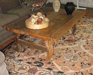 Elk Scupture, Pottery, Art glass, primitive table, nice area rug