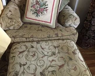 UPHOLSTERED OVERSTUFFED CHAIR WITH      MATCHING OTTOMAN